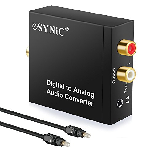 ESYNIC DAC Digital to Analog Audio Converter Optical Coax to Analog RCA Audio Adapter with Optical Cable 3.5mm Jack Output for HDTV Blu Ray DVD Sky HD XBox 360 TV Box (Rca To Cable Optical)