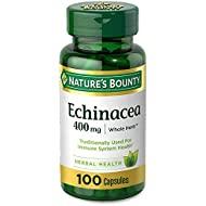 Echinacea by Nature's Bounty. Whole Herb formula for year-round immune support. 400mg 100 Capsules