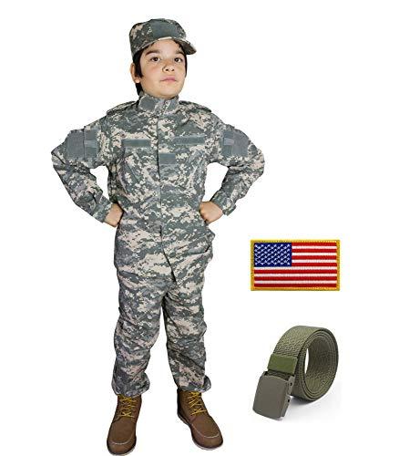 Kids Military Costume Army Uniform Camo Tactical Suit - Cap, Shirt, Pants, Belt, Patch Set - Boys (5-6, ACU) for $<!--$49.50-->
