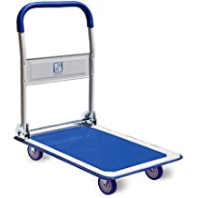 Push Cart Dolly by Wellmax | Functional Moving Platform + Hand Truck | Foldable for Easy Storage + 360-degree Swivel Wheels + 330lb Weight Capacity | Blue Colour