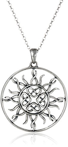 Sterling Silver Oxidized Celtic Love Knot Sun Pendant Necklace, 18