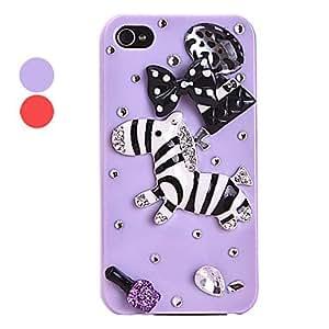 Cute Zircon Zebra Pattern Hard Case for iPhone 4/4S(Assorted Colors) --- COLOR:Purple