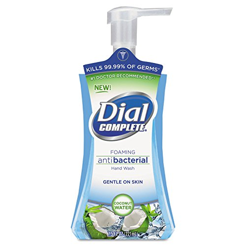 Dial 09316CT Antimicrobial Foaming Hand Soap Coconut Waters 7.5 oz Pump Bottle 8/Carton ()