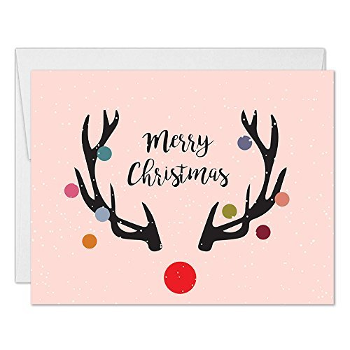 Christmas Notecards.Merry Christmas Cards With Envelopes Set Of 25 Modern Red Nosed Reindeer Design Folded Holiday Seasonal Greeting Cards 25 Pack Boxed Blank Inside