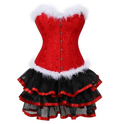 Famajia Women's Christmas Cloak Deluxe Velvet Hooded Cape Corset Skirt Set Mrs Santa Costumes 6X-Large Red -