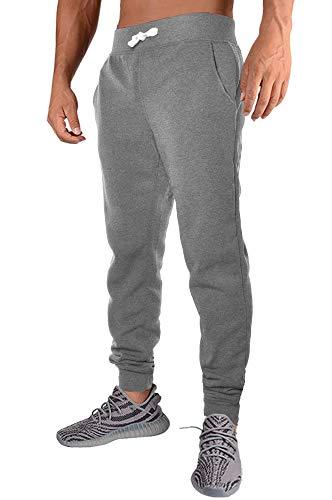 (PEGENO Mens Slim Fit Joggers Fitness Activewear Sports Fleece Sweatpants for Gym Training (Dark Gray 2XL))