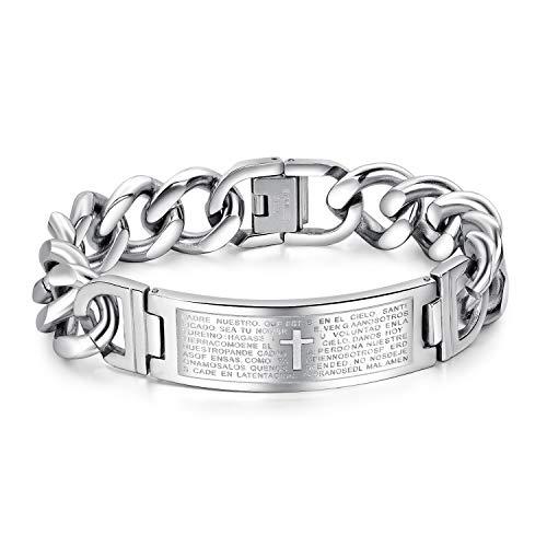 Religious Stainless Steel Cuban Link Bracelet for Men Cross Spanish Bible Lords Prayer Wrist Bracelet ()