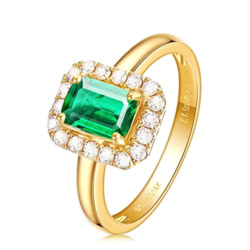 Rectangular Necklace Enhancer - Epinki 18K Gold Ring Rectangular Shape Women Engagement Ring Proposal Ring Gold Green Emerald Size 7