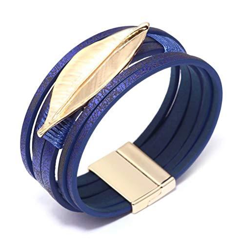 Mnz Jewelry Leather Bracelet Boho Multilayer Wrap Bracelets Cuff Bracelets for Women Magnetic Bracelet Handmade Jewelry for Mother -