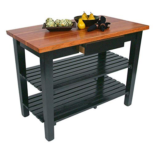 John Boos Le Classique Work Table, Varnique, with Drawer and 2 Shelves, 48