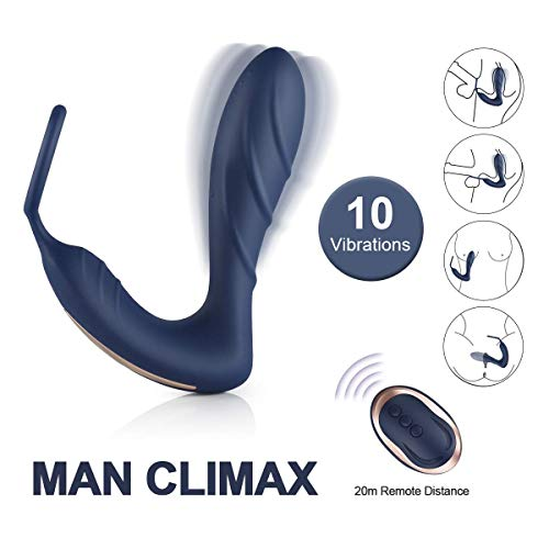 Vibrating Prostate Massager with Cock Ring, BOMBEX 10 Patterns Anal Plug with Remote Control, Silicone G-spot Vibrator Sex Toys for Men, Women and Couple