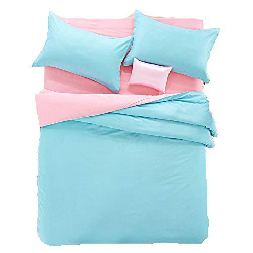 Nova Bed Set Bedding Set Flat Sheet Pillowcase No Comforter 4pcs Children Solid Candy Color Full Size 70