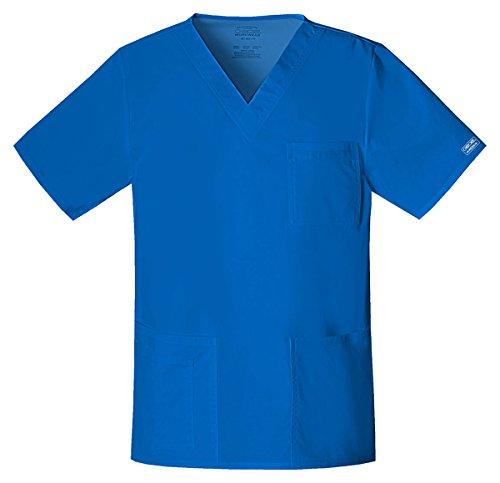(Cherokee Workwear Unisex Stretch V-Neck Pocket Shirt_Royal_Medium,4725 )