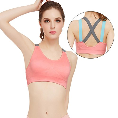 Zhouhong Cross Back Sports Bra Padded Removable Wireless Yoga Bra for Gym, Workout and Fitness