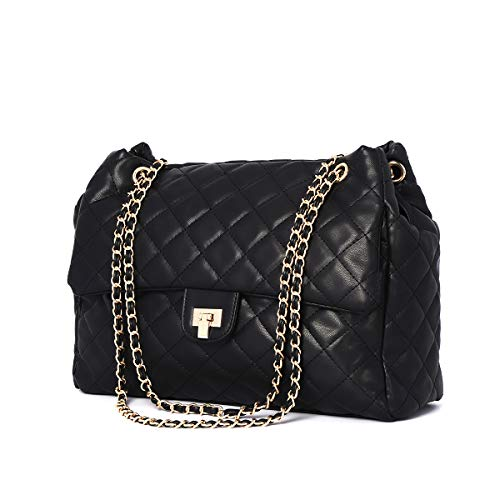 Women Fashion PU Leather Crossbody Bag Quilted Shoulder Purse for Girls with Golden Chain Strap (Black)