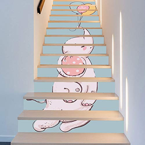 XUE 13 Unidades Bebé Elefante Globo Nordic Habitación de los niños Decoración Escaleras Pegatinas Moda Creativa Escaleras...