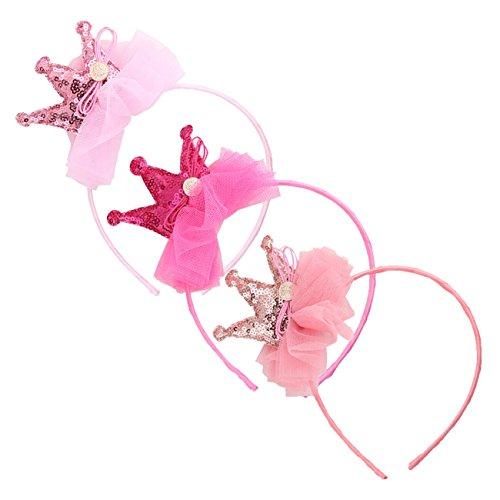 [Sequin Tiara Birthday Girl Princess Party Tiaras and Hair Clip Set (3 pcs headbands) by] (Princess Birthday Girl Tiara)