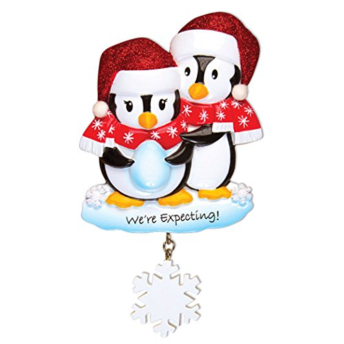 Personalized We're Expecting Penguins Christmas Tree Ornament 2019 - Bird Couple in Glitter Hat Hug Egg Snowflake Dangling Baby Shower New Parent Year - Free Customization (Bird Couple)