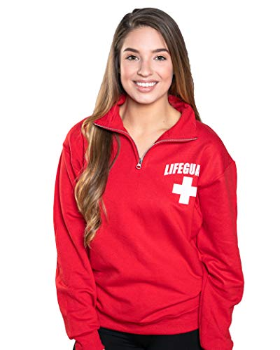 (LIFEGUARD Officially Licensed Quarter Zip Cotton Fleece Sweatshirt (L, Red))