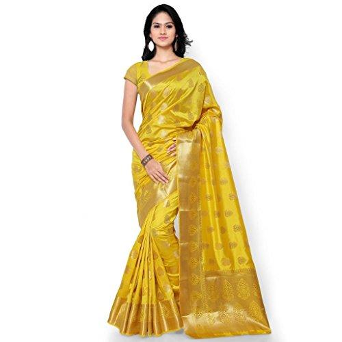 Varkala Silk Sarees Women's Art Silk Kanchipuram Saree With Blouse Piece_(ND1007GD_Yellow) by Varkala Silk Sarees