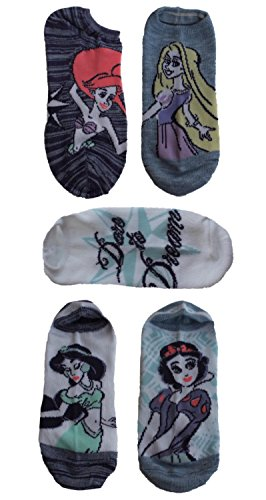 Disney Princess Ladies and Juniors 5 Pk No Show Socks