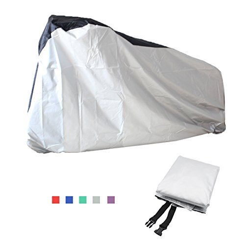 Bicycle Beach Cruiser (Top-Spring Large Bike Cover 2 Layer Waterproof Outdoor Tear Resistant Windproof Bicycle Cover for Mountain Bike, Road Bike, City Bike, Beach Cruiser Bike with Windproof Buckle Strap , Sun Dust Proof)