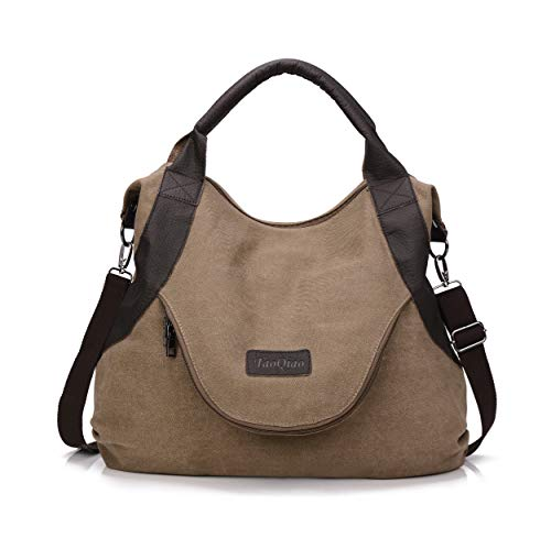 xiaoxiongmao Large Pocket Casual Women's Shoulder Cross body Handbags Canvas Leather Bags Coffee