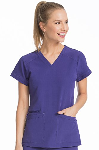 Med Couture Women's 'Air Collection' V-Neckline Sky High Scrub Top, Grape/Signature Purple, Large