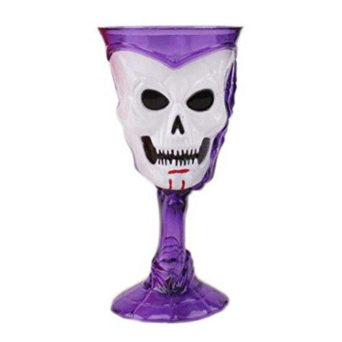 LUOEM Holloween Spoof Props Goblets 3D Effect Luminous Skull Terrorist Wine Cup Haunted House Bar KTV Beer Mug Goblet ()