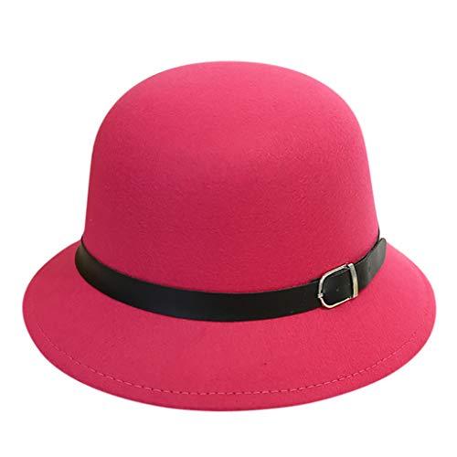 d0d4349842dee JESPER Women s Classic Belt Buckle Bowler Hat Crushable Wool Short Brim  Trilby Panama Hat Hot Pink