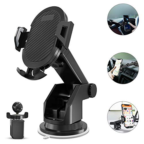 (Keklle 2-in- 1 Dashboard Car Phone Mount,Car Phone Holder,Car Air Vent Mount Holder Cradle and Adjustable Windshield Holder Cradle with 360° Rotation for iPhone, Android - 2018)
