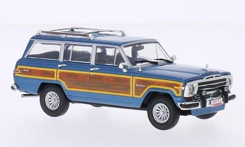 Jeep Grand Wagoneer, metallic-hellblau/wood optics, 1989, Model Car, Ready-made, WhiteBox 1:43 - Jeep Wagoneer Toy