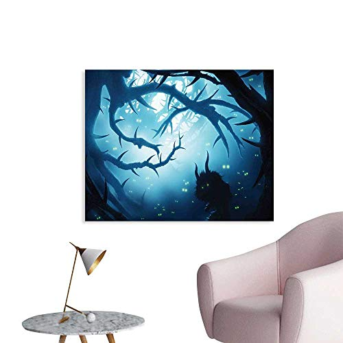 J Chief Sky Mystic Decor Custom Prints Poster Animal with Burning Eyes in Dark Forest at Night Horror Halloween Illustration Mural Wallpaper W36 xL24