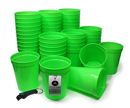 (Rolling Sands 16oz Reusable Plastic Stadium Cups Lime Green (50 Pack, Made in USA, BPA-Free) Dishwasher Safe Plastic Tumblers and Bottle Opener)