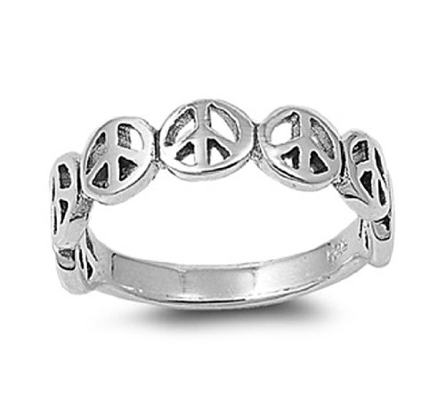 High Polish Sterling Silver Peace Symbol Ring - size10