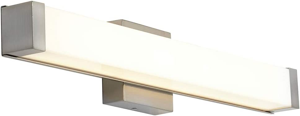 New Squared Capped End Modern Frosted Bathroom Vanity Light Fixture Contemporary Sleek Dimmable LED Rectangular 24 Vertical or HorizontalLighting Brushed Nickel Wall Sconce 3000K Warm White