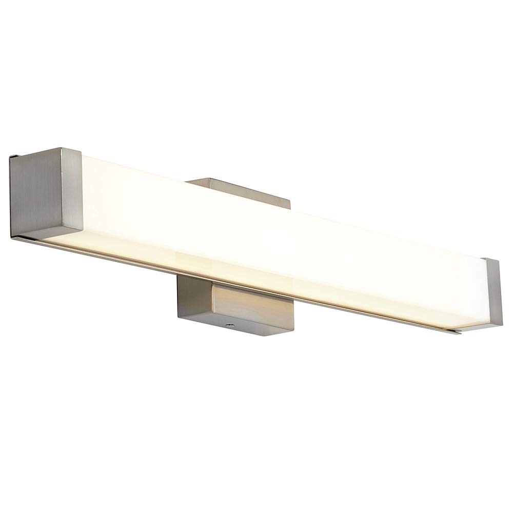 """New Squared Capped End Modern Frosted Bathroom Vanity Light Fixture   Contemporary Sleek Dimmable LED Rectangular 24"""" Vertical or HorizontalLighting Brushed Nickel Wall Sconce   3000K Warm White"""