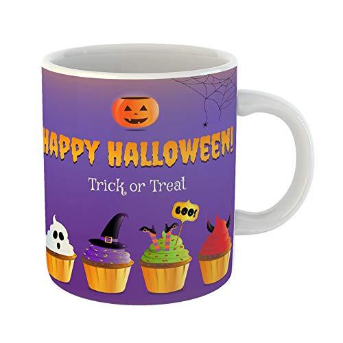 Emvency Coffee Tea Mug Gift 11 Ounces Funny Ceramic Orange Autumn Happy Halloween Party Trick Treat Scary Cupcakes Bakery Gifts For Family Friends Coworkers Boss Mug
