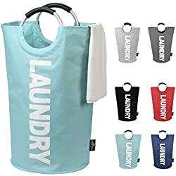 DOKEHOM DKA0001LB2 Large Laundry Basket (6 Colors), Collapsible Fabric Laundry Hamper, Foldable Clothes Bag, Folding Washing Bin (Light Blue, L)
