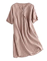 Mordenmiss Women's Linen Tunic Dresses V-Neck Baggy Midi Dress Hi-Low Tops
