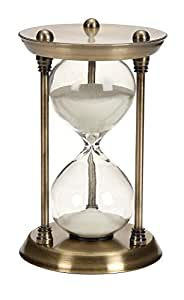 Deco 79 Metal/Glass Quarter Hourglass with 15 Minutes Time Interval
