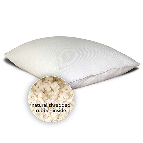 Natural Shredded Rubber Pillow - LIFEKIND Natural Shredded Latex Rubber Pillow with Certified Organic Cotton Knit Cover - The Cozzy (Standard)