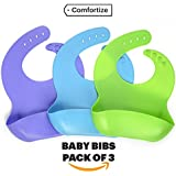 Silicone Baby Bib with Pocket Set of 3 — Waterproof...
