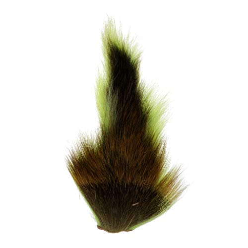 (Ameglia Bucktail Fishing Lure Jig Flies Deer Tail Hair Making DIY - Fly Tying (Color - Green))