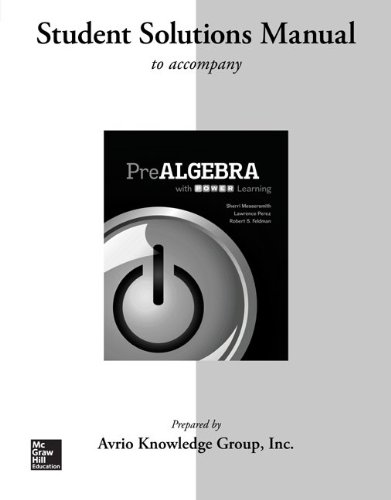 Student Solutions Manual for Prealgebra with P.O.W.E.R. Learning