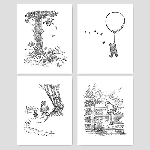 (Set of 4) Winnie the Pooh Black and White Nursery Art (Baby Wall Prints Boys, Girls Room) – 8x10 Unframed