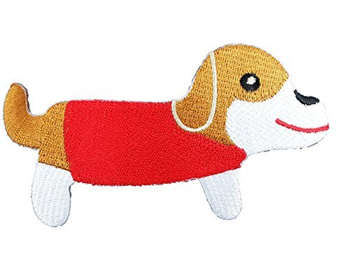 Dog Cartoon-Red Shirt-Embroidered Iron On Patch (4l Shirt X)