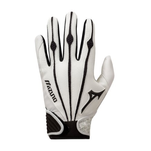 Mizuno Adult Vintage Pro Batting Gloves, White, Large