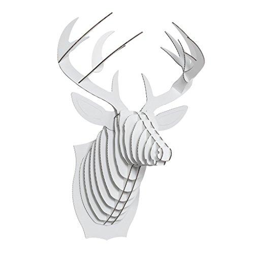 Cardboard Safari Recycled Cardboard Animal Taxidermy Deer Trophy Head, Bucky White Large