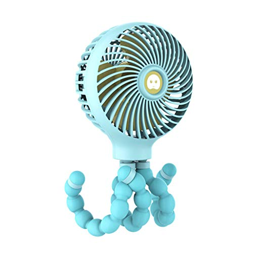 UNBRUVO Portable USB Mini Clip-on Desk Fan Handheld Recharging Battery for Baby Strolle ()